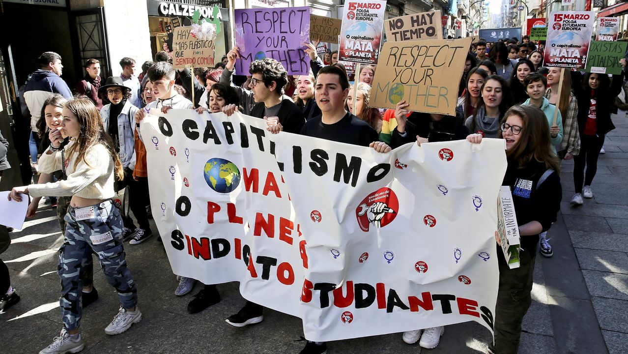 Estudiantes gallegos en una marcha contra el cambio climático