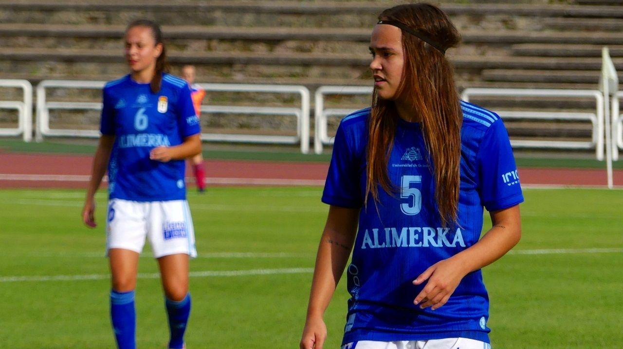 Henar, en un partido con el Real Oviedo Femenino