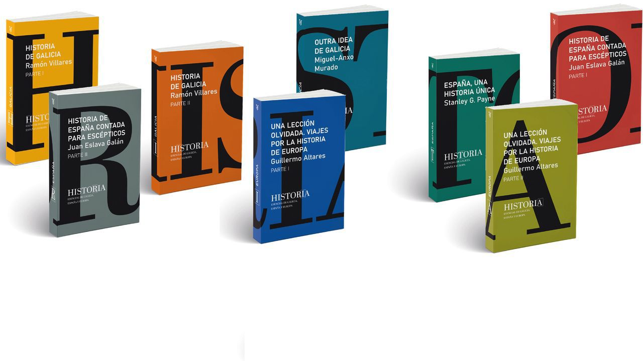 Detalle de las portadas de los libros de la colección de historia de La Voz