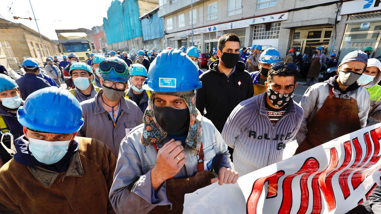 Los trabajadores del metal protestan ante Asime.En Vigo se produjeron dos movilizaciones ante Freire y ante Asime