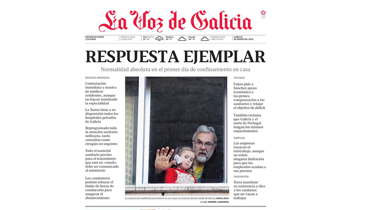 Primera de La Voz de Galicia del 15 de marzo