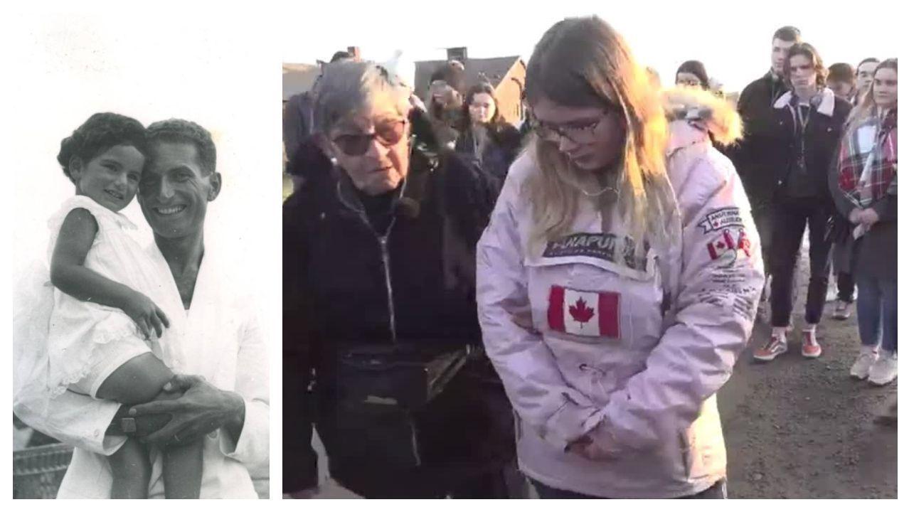 La niña Liliana Segre en brazos de su padre, ambos acabaron en Auschwitz (él no sobrevivió). Y, a la drecha, Ginette Kolinka, en una visita a Auschwitz, explicando a los jóvenes el funcionamiento del campo