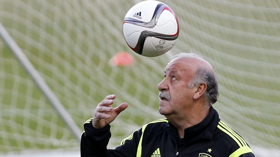 Del bosque.El entrenador de España, Vicente del Bosque, juega con un balón durante el entrenamiento que la selección española de fútbol ha realizado esta tarde en el estadio Sánchez Pizjuán de Sevilla
