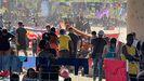 Inmigrantes haitianos acampados en Texas