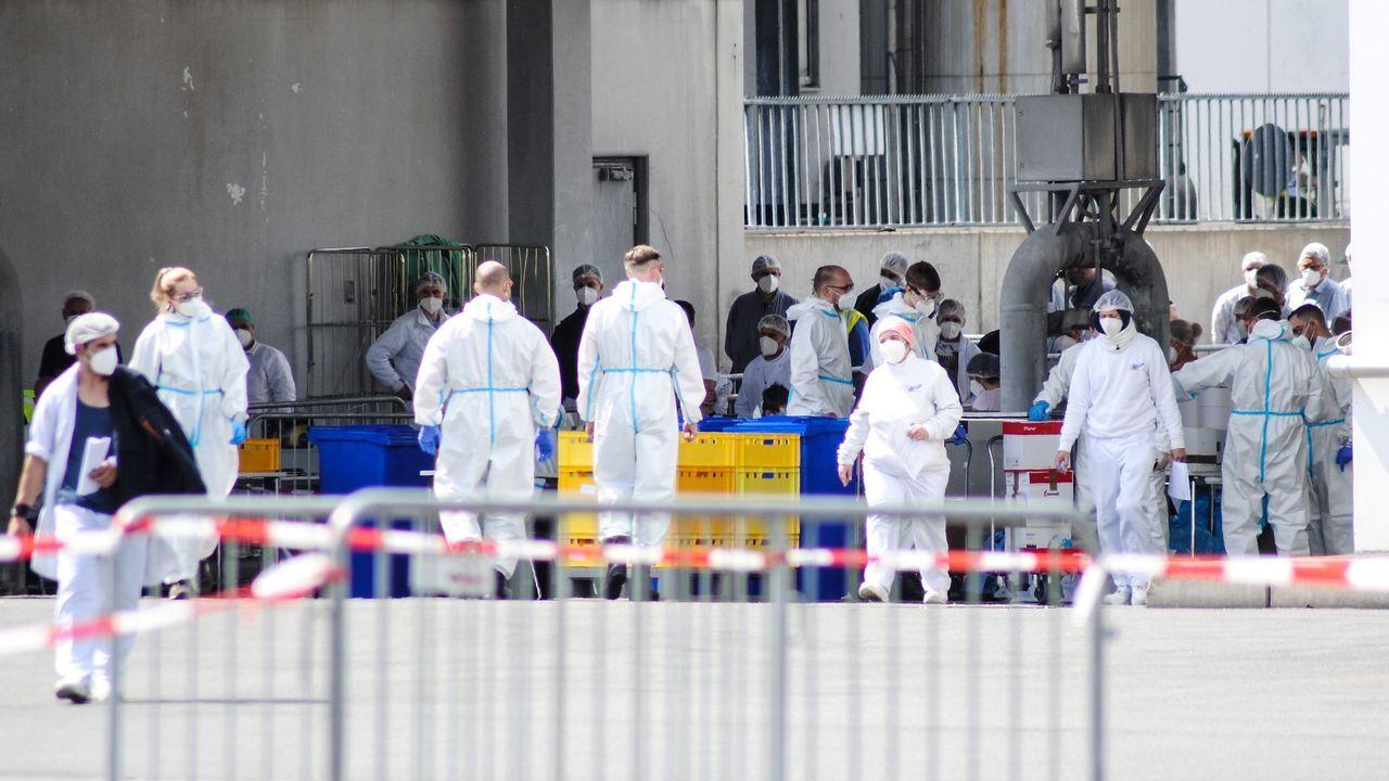 Toma de muestras de trabajadores de la empresa cárnica alemana en la que se localizó un foco de infección
