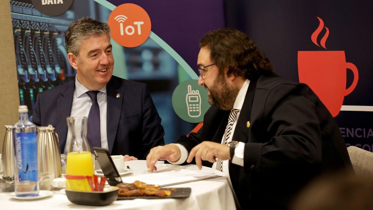 Mario Barcenilla, presidente de Arias Infraestructuras, en el desayuno celebrado ayer en A Coruña