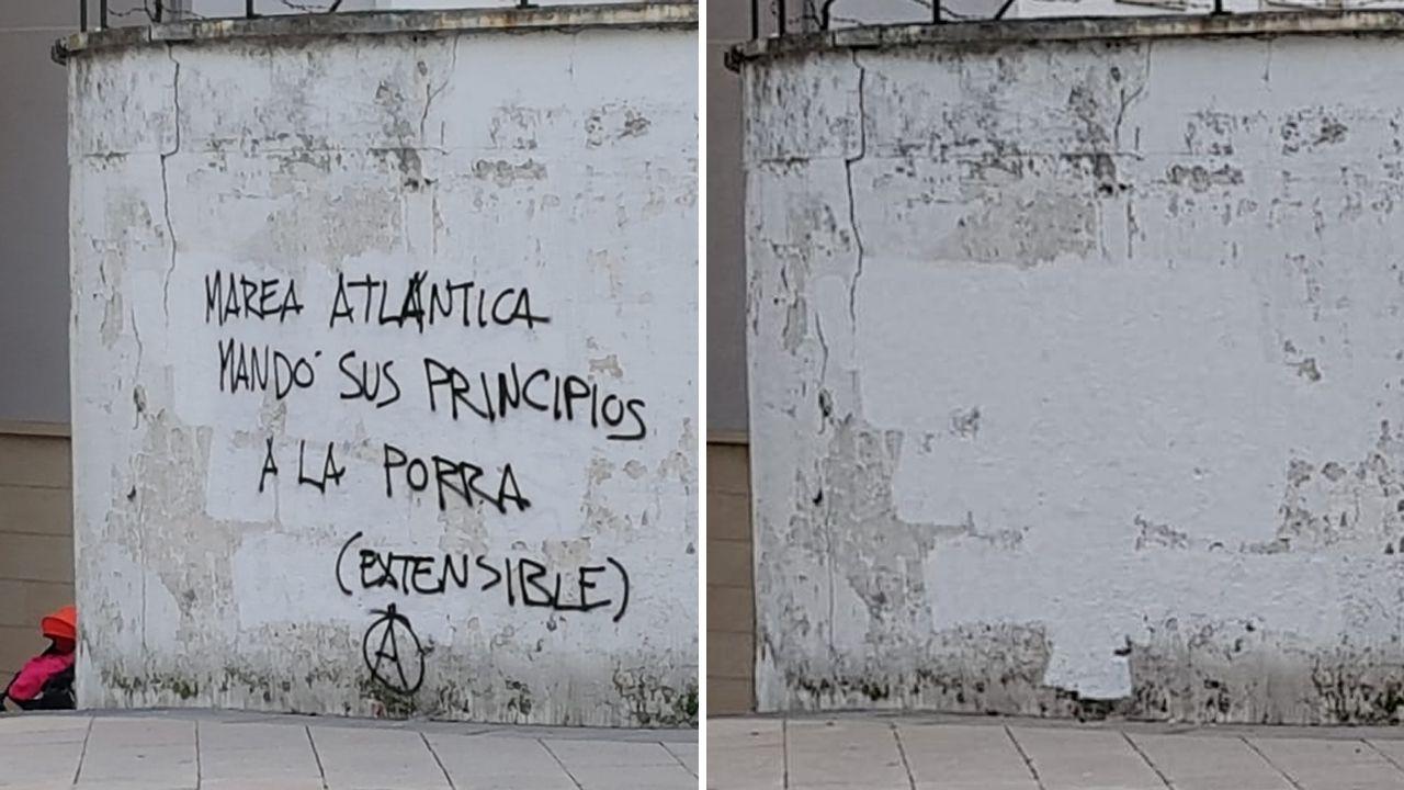 Ayer por la mañana desapareció este grafiti de los muros de la Comandancia, que fue pintado el fin de semana