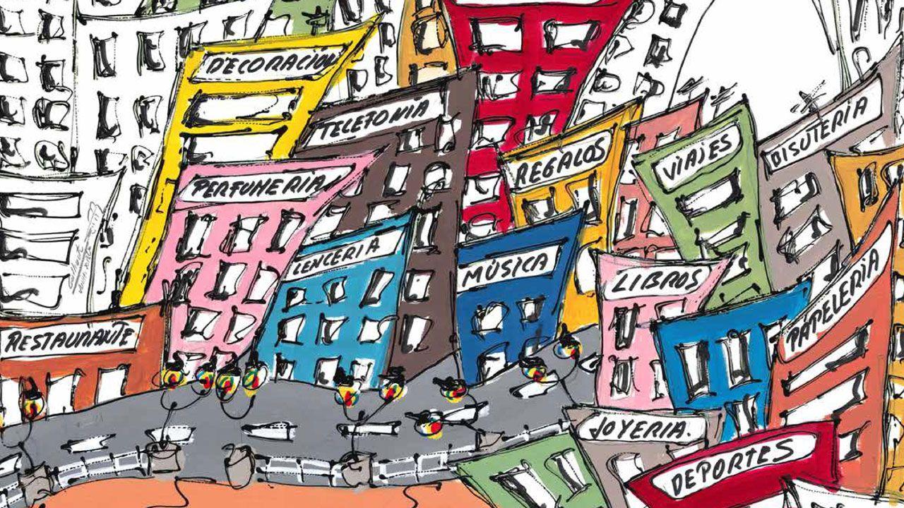 Ferrol brilla con las luces de la Navidad.Un fragmento del cartel anunciador del 37 Concurso de Escaparates de Gijón, obra de Javier Gallinota