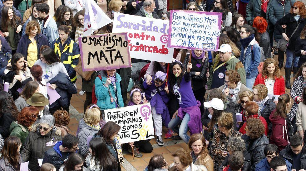 Un momento de una de las movilizaciones feministas que se celebraron en Monforte el 8 de marzo del 2019