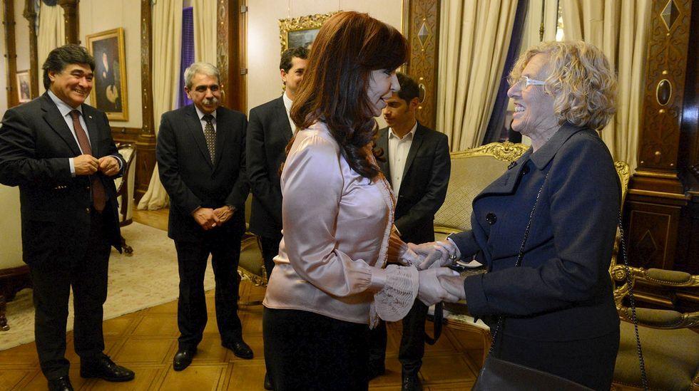 La visita de Obama a Argentina.Cristina Fernández recibe a Manuela Carmena en la Casa Rosada.