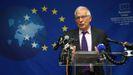 Borrell, en rueda de prensa tras la reunión de los ministros de Exteriores de la UE en Nueva York.