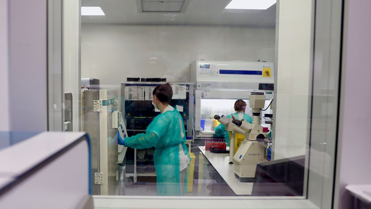 sol, calor, Gijón, playa, Asturias.Técnicos sanitarios del Hospital Universitario Central de Asturias (HUCA), trabajan en el interior de la cabina de seguridad del laboratorio de virología de este centro de referencia del Principado