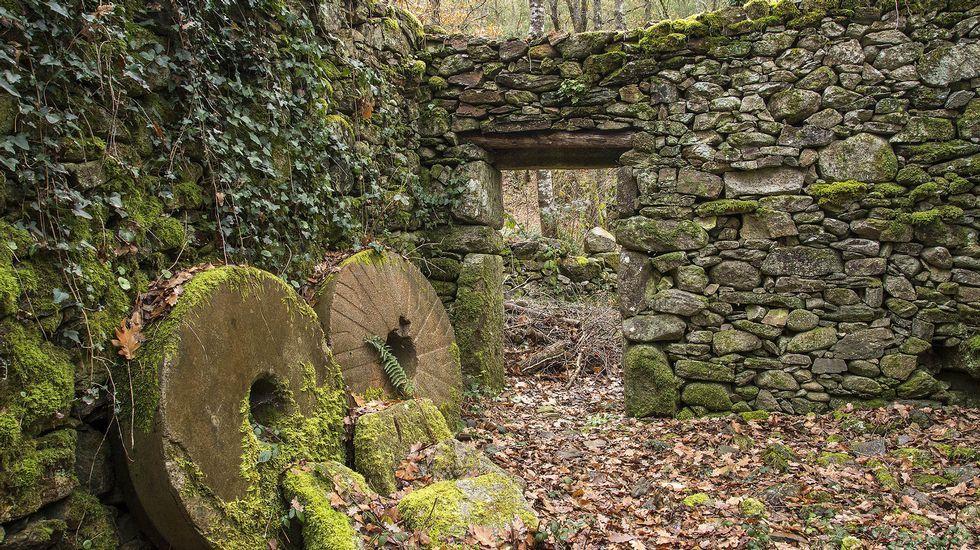 Piedras de moler en el molino de Nemesio da Boca