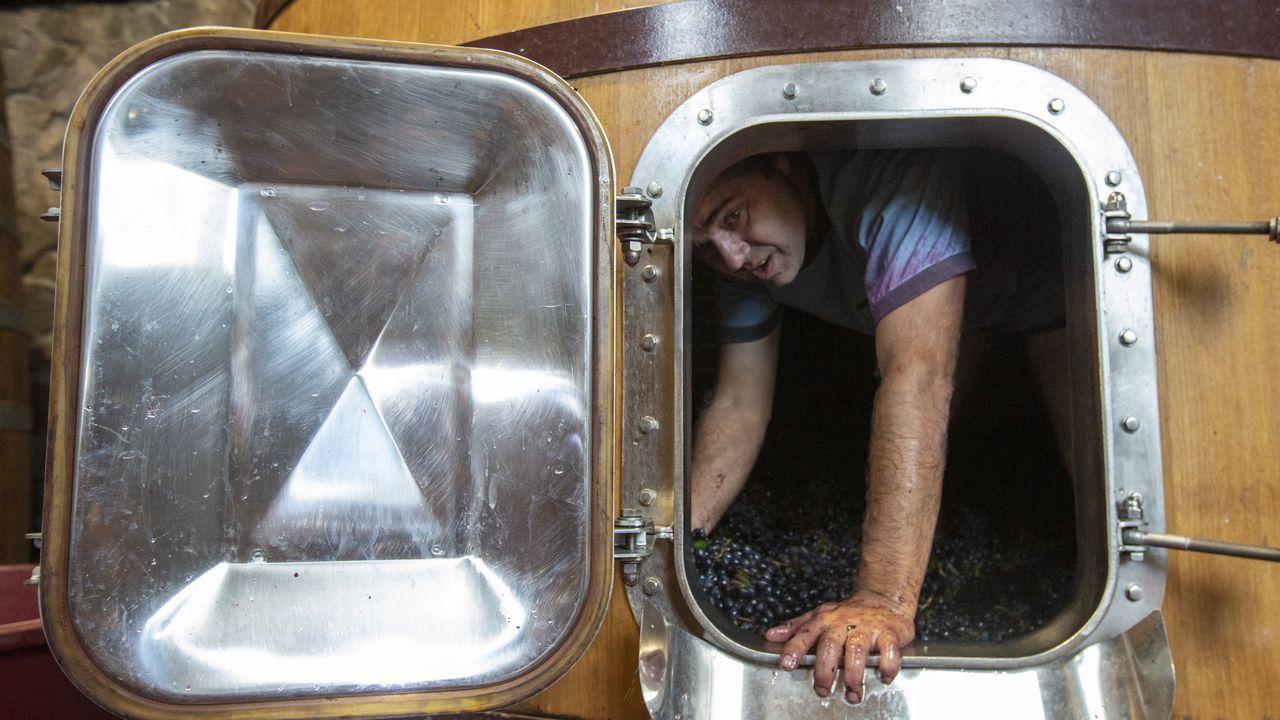 Pedro Rodríguez, en uno de los depósitos troncocónicos de la bodega, formato en boga en los vinos de crianza