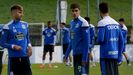 Gandoy y Villares, en un entrenamiento del Deportivo