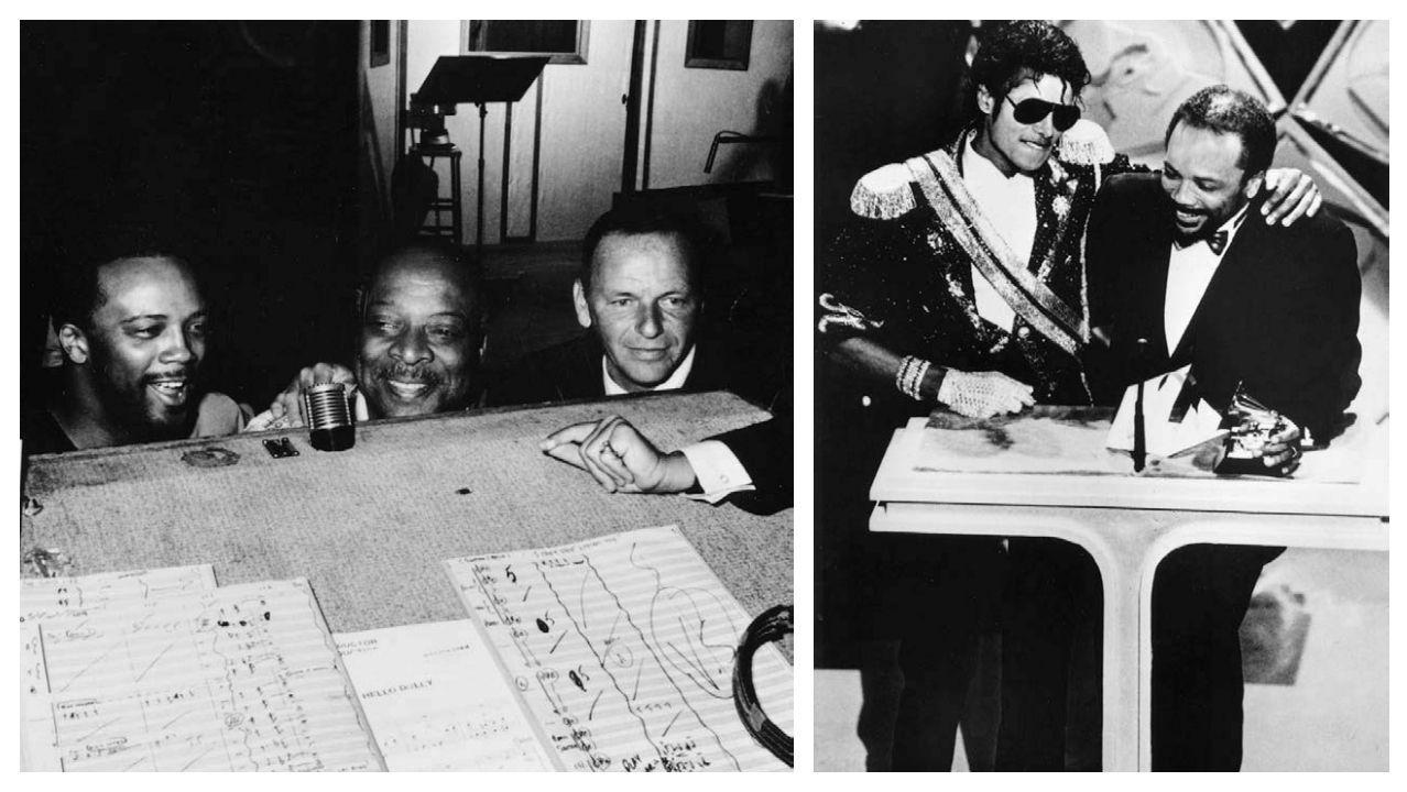 Grabando «Fly Me to de Moon» con Sinatra y Count Basie, en 1964. Y a la derecha, en 1983, con Michael Jackson, cuando recogió el Grammy por «Thriller»