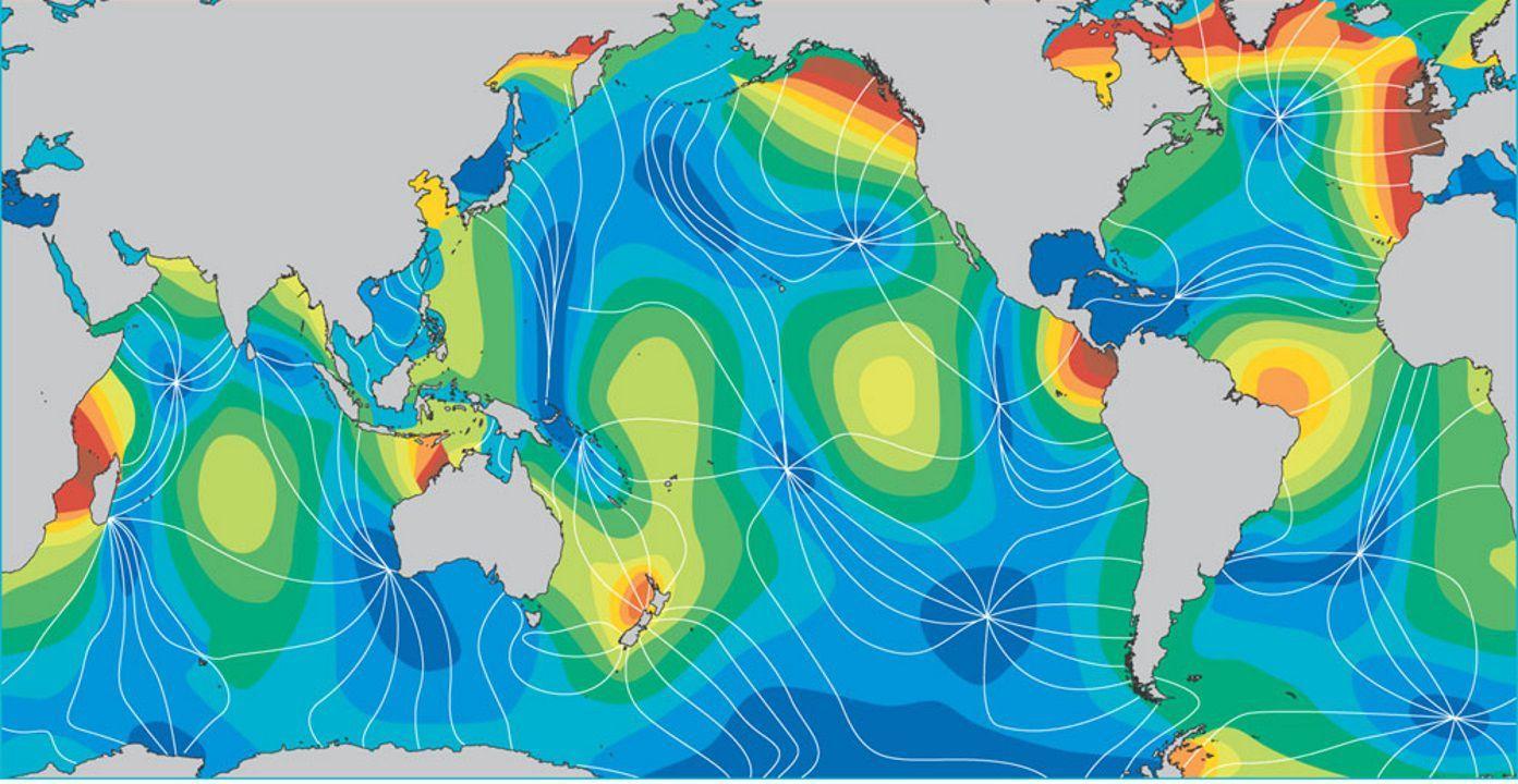 En el Atlántico existe un punto a partir del cual circula la onda que genera las mareas