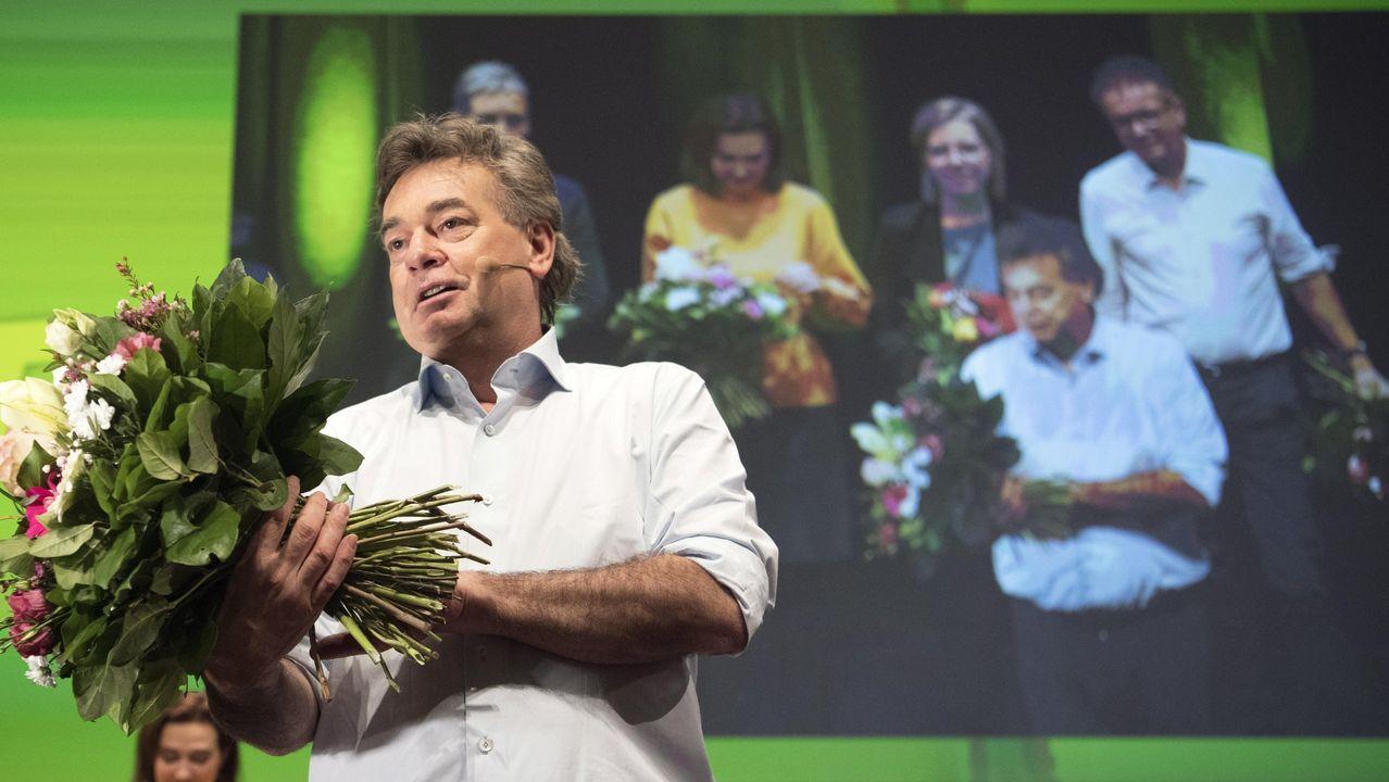 Werner Kogler celebra la aprobación en el congreso l de Los Verdes el Gobierno de coalición con el conservador Kurz