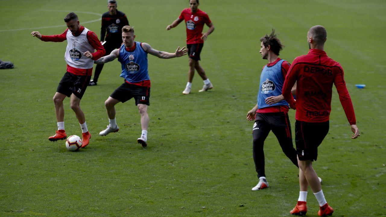 El Deportivo se entrenó el domingo en el estadio de Riazor