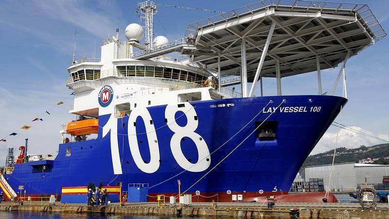 Botadura del «Lay Vessel 108» en los astilleros Metalships de Rodman