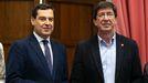 El presidente de la Junta de Andalucia, Juan Manuel Moreno Bonilla, y el vicepresidente, Juan Marín