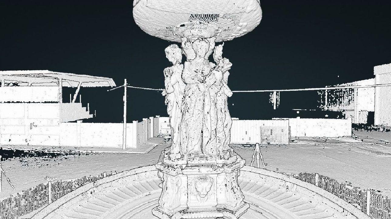 Así es el escaneo de la fuente de las Cuatro Estaciones de Betanzos.Imagen de archivo del Espazo +60 Afundación, en Rúa Alta