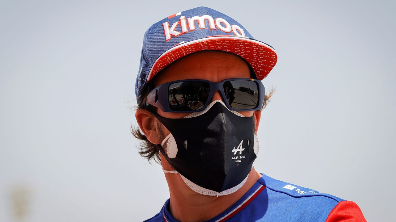 Fernando Alonso en Portugal.Fernando Alonso, a su llegada al circuito de Barhéin
