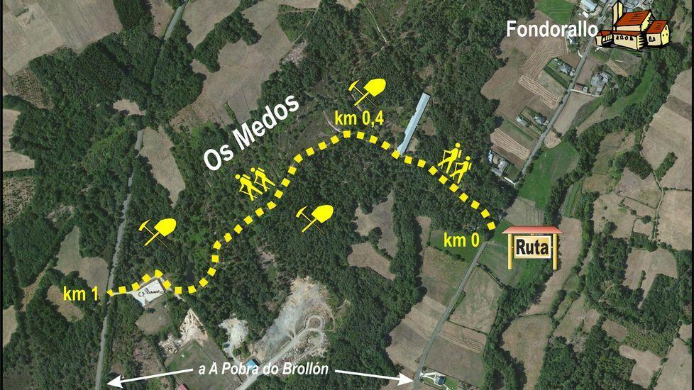 Los numerosos surcos que se aprecian en el terreno fueron canales utilizados para conducir agua y erosionar el suelo a fin de arrancar el oro