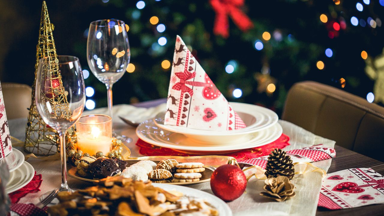 mesa, navidad, decoración navideña