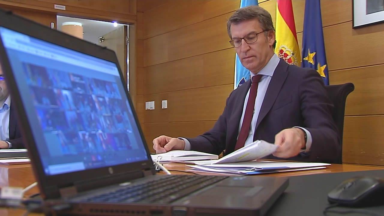 Feijoo mantiene una videoconferencia con Sánchez y los presidentes autonómicos para abordar la crisis del coronavirus