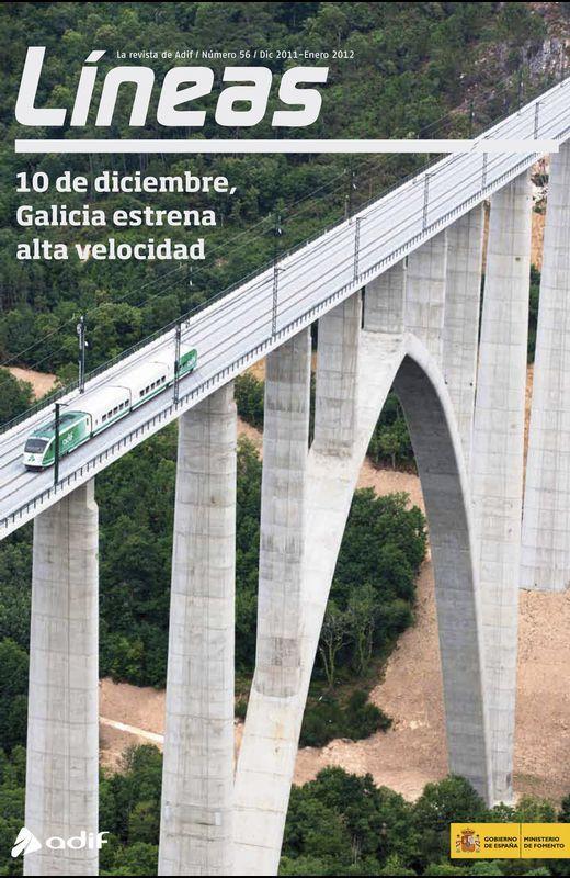 REVISTA «LÍNEAS». En ella el ADIF publicitaba las medidas de seguridad en la llínea entre Santiago y Ourense y el uso del ERTMS, ausente en Angrois