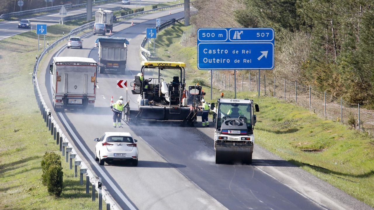 autopista, fuga, huida, autopistas, Asturias, kamikaze, kamikazes.Comenzaron los trabajos de reparación de la A-6 en Outeiro de Rei