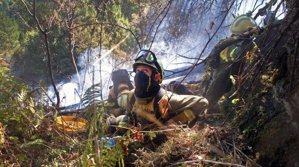 El incendio de Quiroga, en fotos.Firmas esculpidas este mes de agosto por unos visitantes en el castro de A Torre