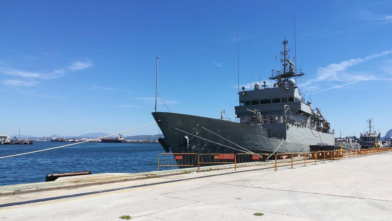La F-105 tras llegar a Ferrol después de un despliegue internacional
