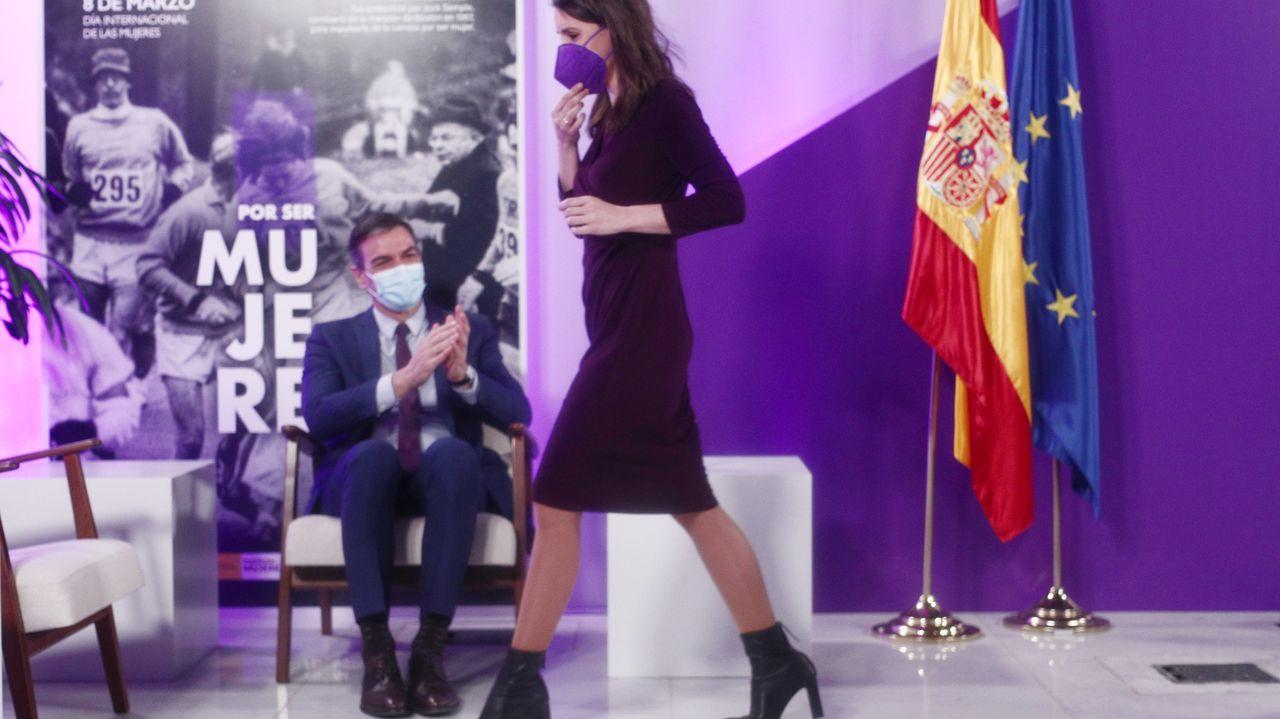 La ministra de Igualdad, Irene Montero, en el acto oficial del Día de la Mujer
