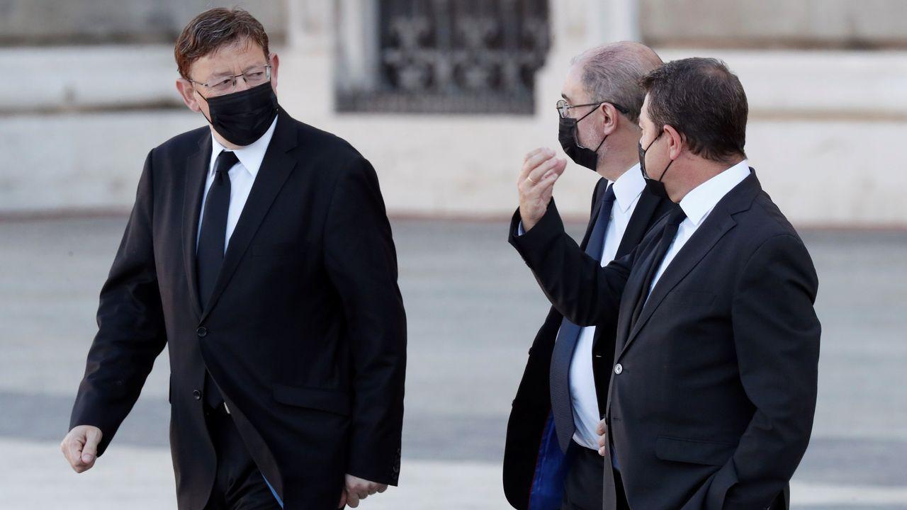 El presidente de la Generalitat Valenciana, Ximo Puig, el presidente de Aragón, Javier Lambán, y el presidente de Castilla-La Mancha, Emiliano García-Page