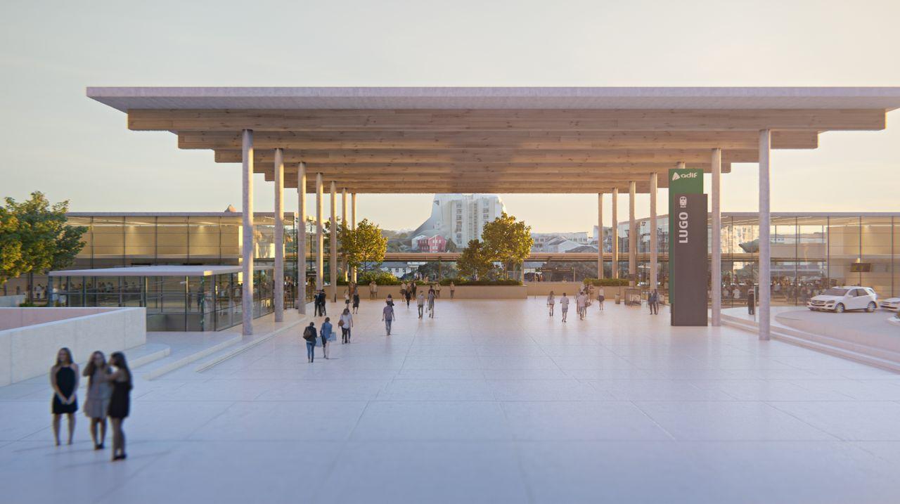 Recreación de la futura Intermodal de Lugo