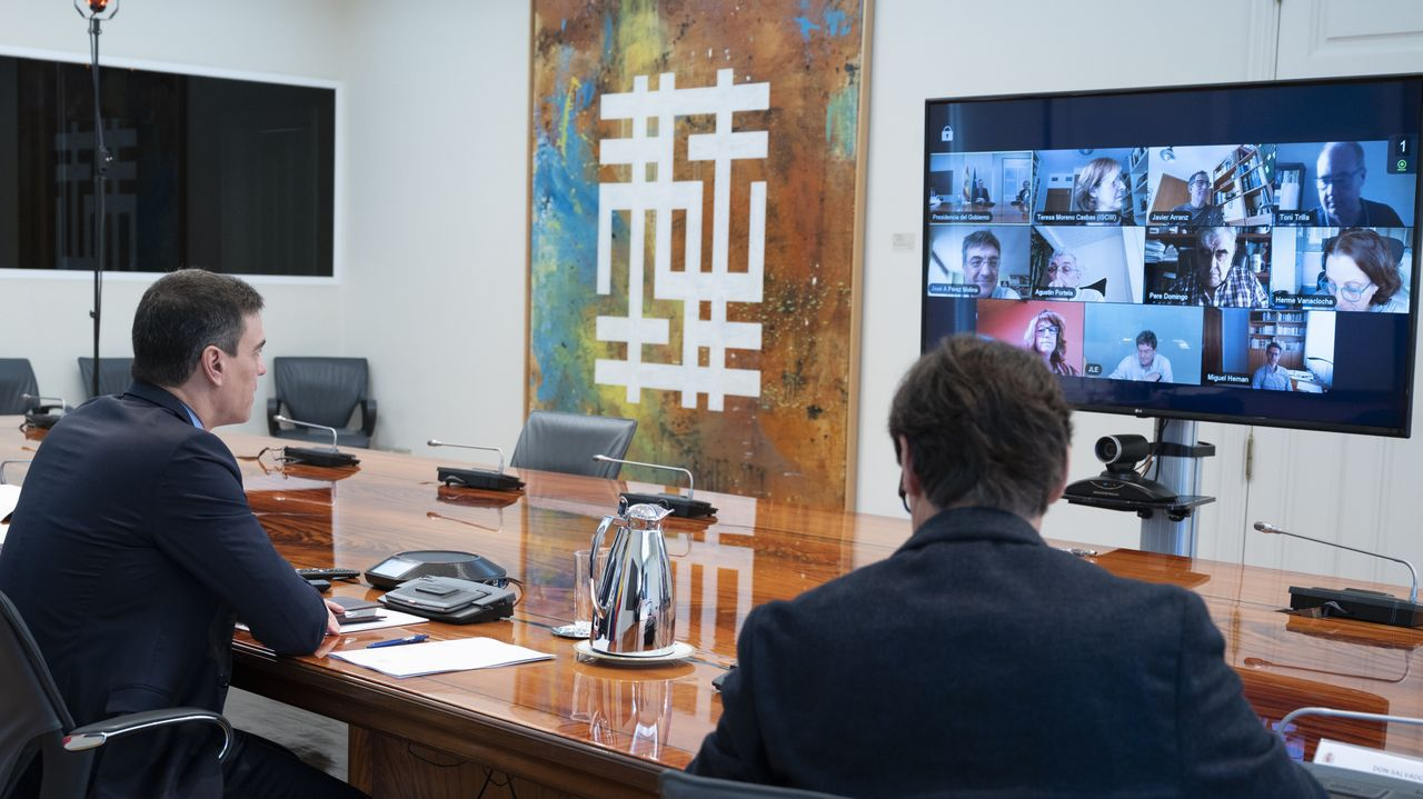 Pedro Sánchez y Salvador Illa en el despacho de Moncloa donde el pasado 25 de abril se reunieron con el comité cientifico; a la izquierda de la pantalla, el cuadro del ourensano Xesús Vázquez