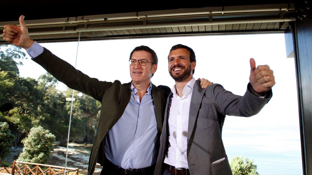 plazalugo.Núñez Feijoo y Pablo Casado, en un acto en Oleiros