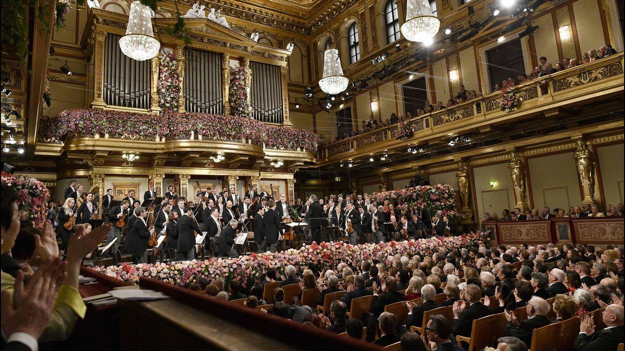 Riccardo Mutiy la Filarmónica de Viena dan la bienvenida al 2018.Presentación de la nueva edición de la Mostra en la Deputación da Coruña, el pasado mes de diciembre.