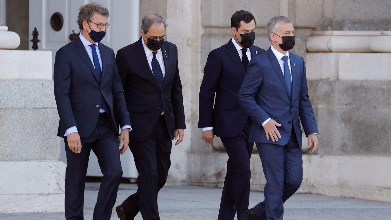 El presidente de la Xunta, Alberto Nuñez Feijoo, junto a los presidentes de Cataluña, Andalucia y Pais Vasco, Quim Torra, Juanma Moreno y Íñigo Urkullu
