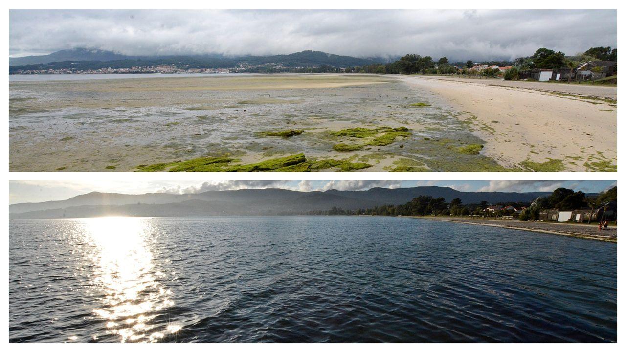 La madre de las mareas vivas devora las playas de Barbanza.El Nuevo Playa de Cillero, una vez reformado