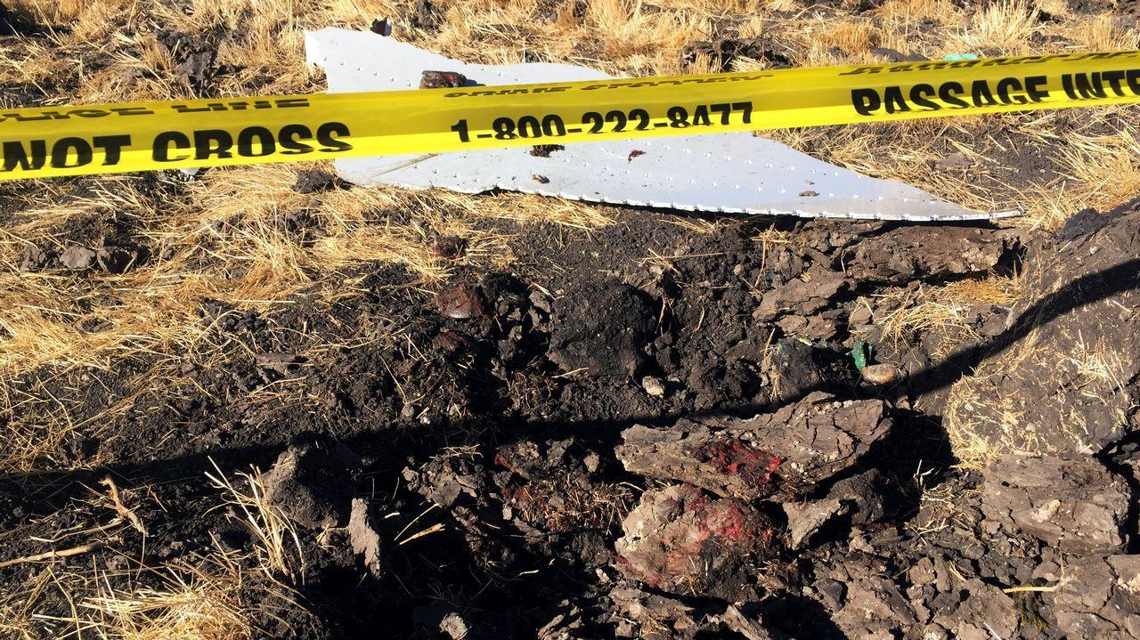 Cordón policial en el lugar de la caída de la aeronave