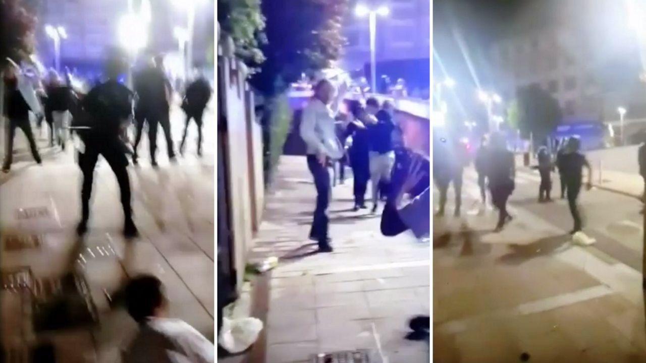 La Policía Local y Nacionalcargan contra jóvenesen el botellón de Santiago.Manifestaciones en Barcelona contra la detención de Puigdemont