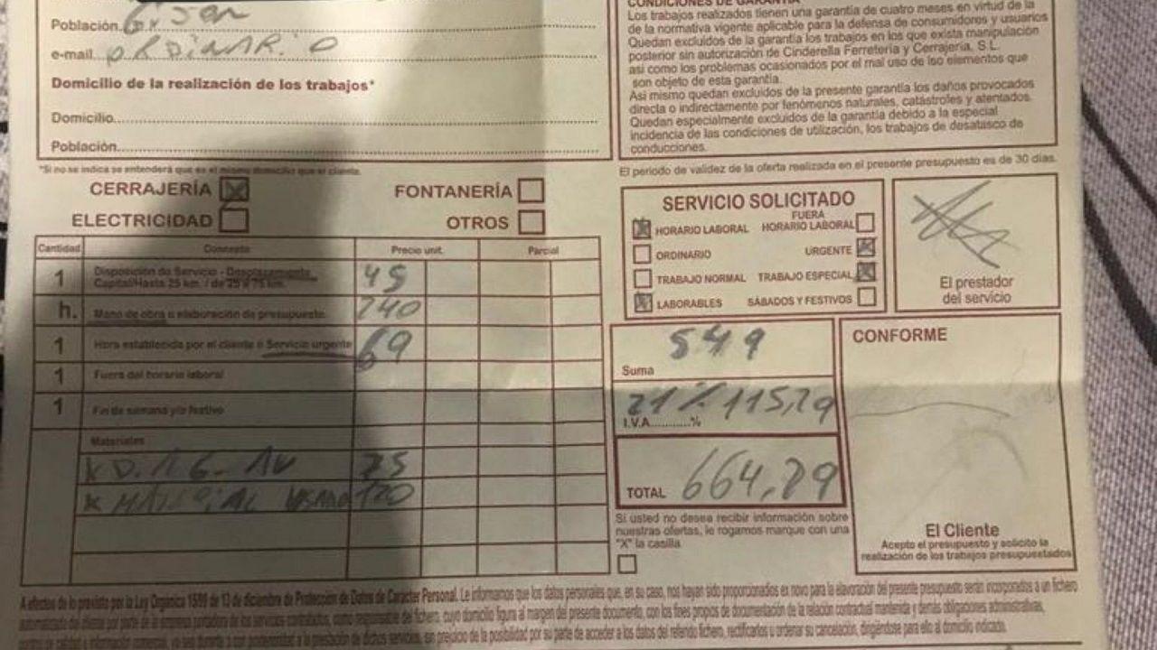 Detalle de una factura por apertura de puerta de urgencia cobrada a un cliente en Mieres