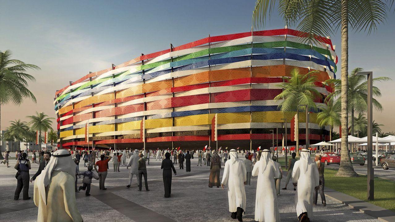 Imagen 3D creada por ordenador facilitada por el Comité de organización del Mundial de fútbol Qatar 2022 hoy, lunes, 6 de diciembre de 2010, que muestra la propuesta del que será el estadio Al-Gharafa de la ciudad qatarí de Lusail, una de las sedes del Mundial de fútbol Qatar 2022. El Al-Gharafa tendrá capacidad para 44.740 personas.