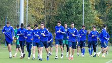 Los jugadores del Oviedo en El Requexón