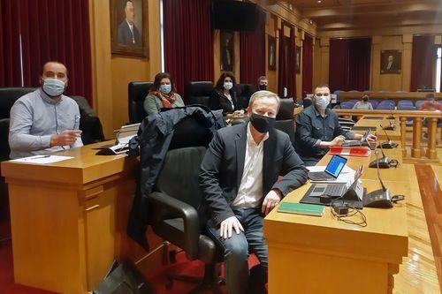 Los diputados provinciales del PSOE siguieron la sesión desde el salón de plenos pese a que la convocatoria era telemática