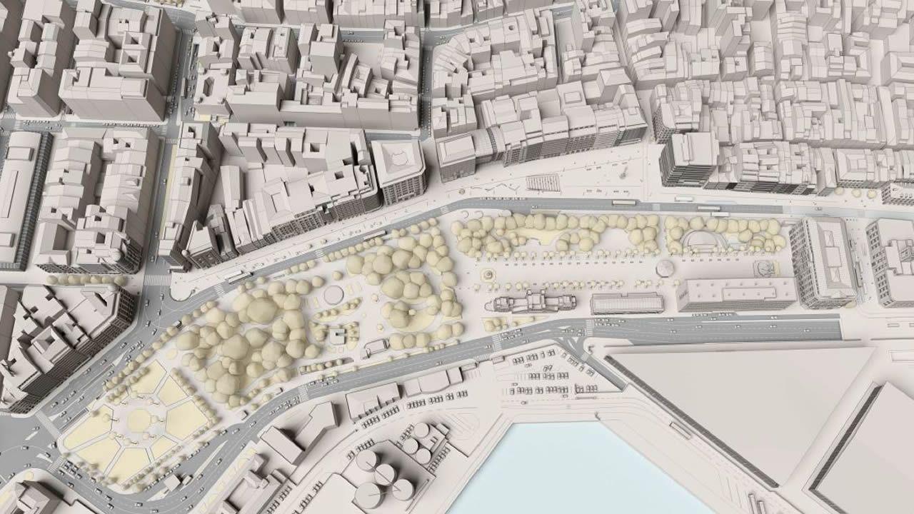 Así son los Cantones en la actualidad. La imagen siguiente muestra el conjunto de los cambios planeados por el Ayuntamiento en la avenida y en las calles aledañas