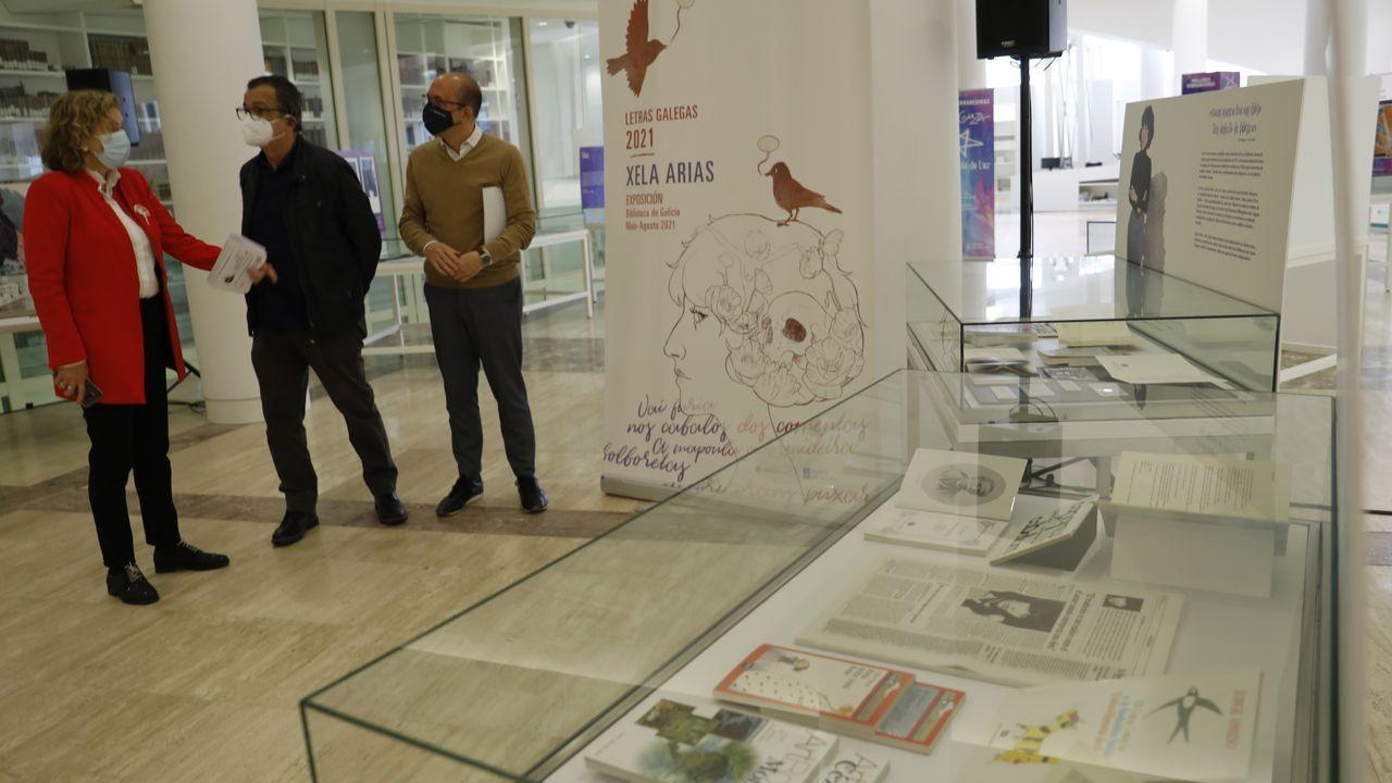 Xulio Gil, que foi parella de Xela Arias, posa ante os retratos que lle fixo á poeta